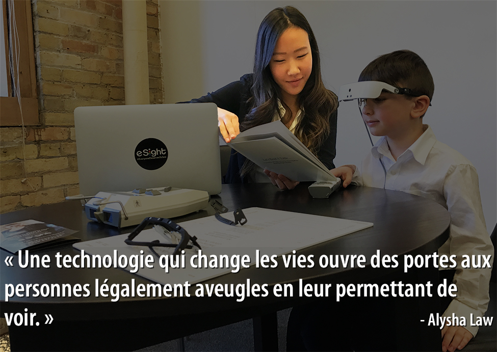 Photo of Alysha Law with quote (in French)