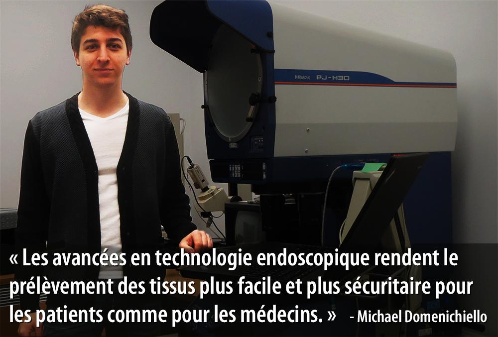 Photo of Michael Domenichiello with quote (in French)