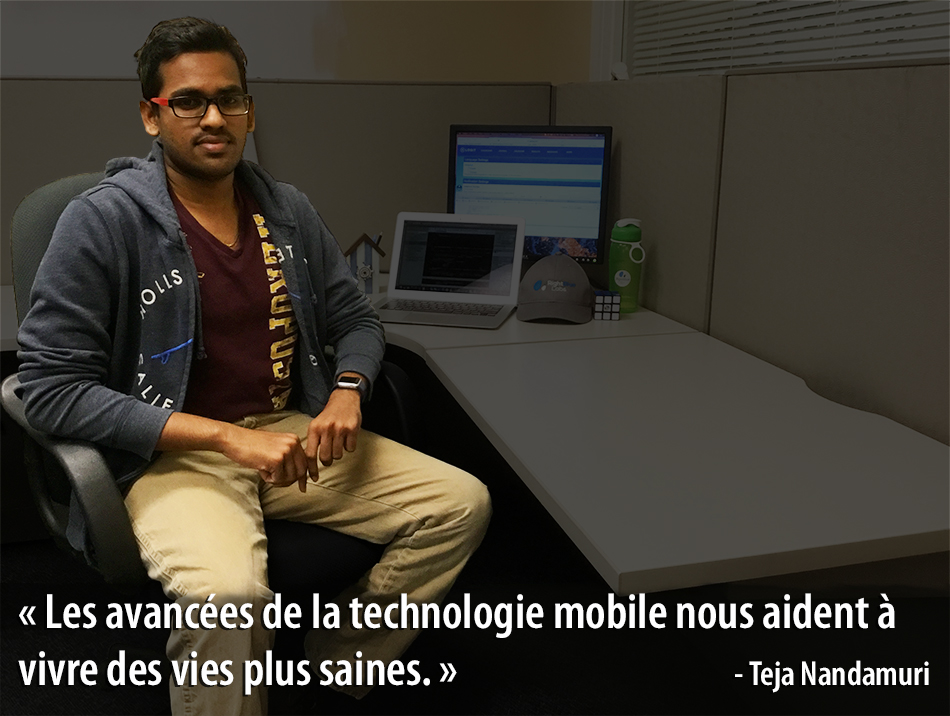 Photo of Teja Nandamuri with quote (in French)